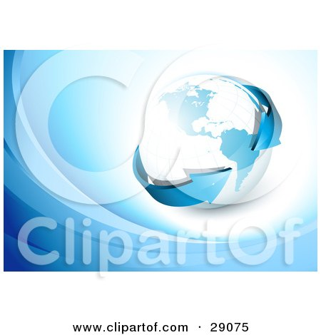 Clipart Illustration of a Blue Arrow Circling The Globe On A White Background With Blue Waves by beboy