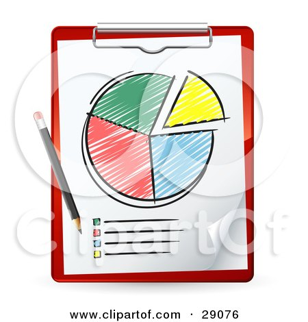 Pencil Resting On A Red Clipboard With A Colored In Pie Chart And A List Posters, Art Prints
