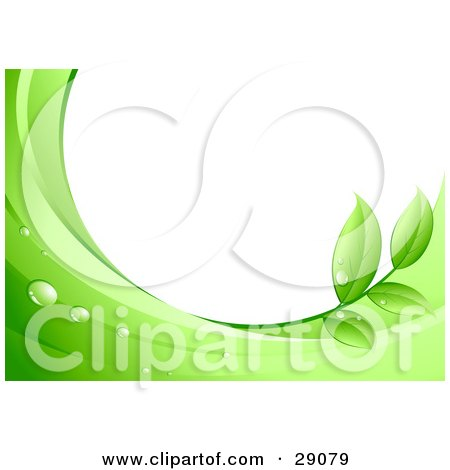Clipart Illustration of a White Background Framed By Dew Drops, Green Leaves And Waves by beboy