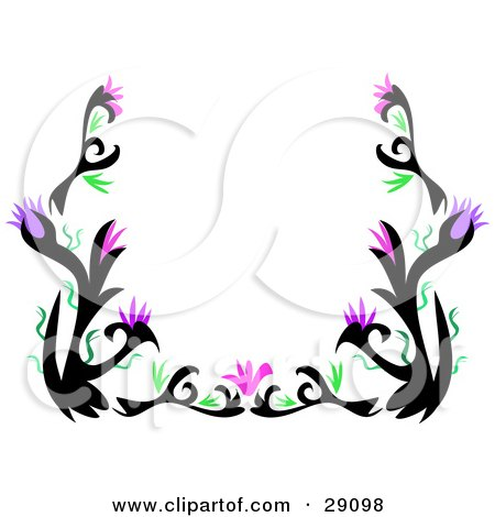 clipart illustration of a stationery border of black tattoo plant designs with green leaves and purple flowers over white by bpearth