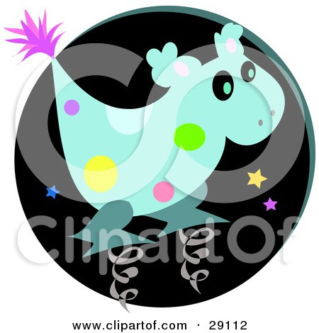 Clipart Illustration Of A Spotted Blue Alien Spring Horse Toy Character Against A Black Background With Stars In The Night Sky