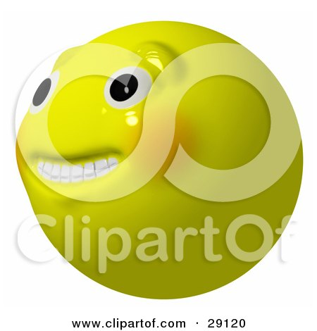 Clipart Illustration of a Nervous, Anxious Or Hopeful Yellow Smiley Head Looking Upwards And Off To The Left by Leo Blanchette