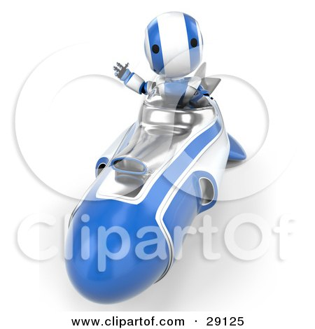 Clipart Illustration of a Silver And Blue AO-Maru Robot Waving While Driving Forward In A Hover Rocket by Leo Blanchette