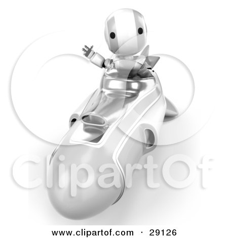 Clipart Illustration of a Silver And White AO-Maru Robot Waving While Driving Forward In A Hover Rocket by Leo Blanchette