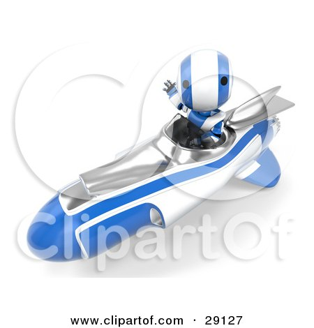 Clipart Illustration of a Chrome And Blue AO-Maru Robot Waving While Speeding Past In A Hovering Rocket by Leo Blanchette