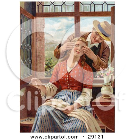 Clipart Picture of a Vintage Victorian Scene Of A Man Reaching In Through An Open Window, Covering A Woman's Eyes As She Sews, Circa 1850 by OldPixels