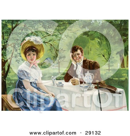 Clipart Picture of a Vintage Victorian Couple Drinking Tea Outdoors On A Nice Day, The Woman Looking Away From The Man, Circa 1830 by OldPixels