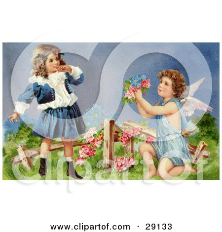 Clipart Picture of a Vintage Valentine of a Surprised Little Girl Leaning Back While Cupid Kneels Before Her, Offering Her Flowers In A Garden, Circa 1905 by OldPixels
