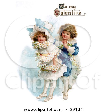 """Vintage Valentine Of A Boy Wrapping His Girlfriend In A White Daisy Flower Garland With """"To My Valentine"""" Text, Circa 1890 Posters, Art Prints"""