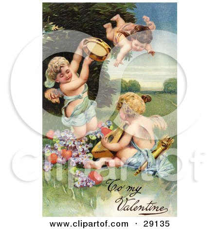 Clipart Picture of a Vintage Valentine Of Three Cherubs, One Flying, Playing Tambourines And Mandolins With Hearts And Purple Flowers, Circa 1906 by OldPixels