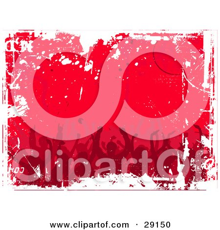Clipart Illustration of a Red Background Of A Dancing Silhouetted Crowd With White Grunge Marks by KJ Pargeter