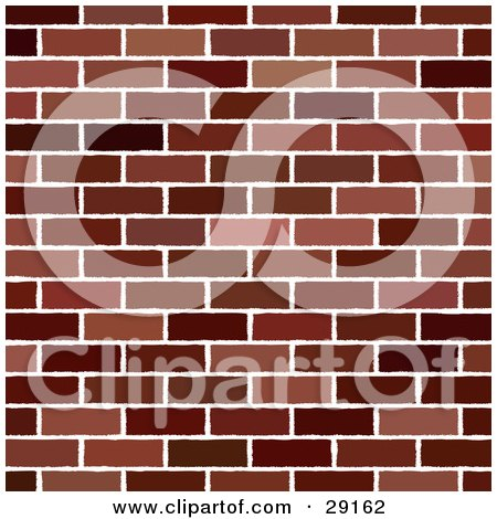 Clipart Illustration of a Red Brick Wall Background Pattern by KJ Pargeter