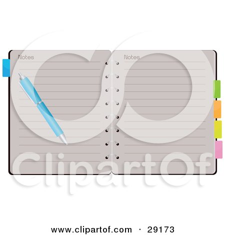 Clipart Illustration of a Blue Pen Resting On Top Of Lined Pages Of An Open Spiral Notebook With Colored Tabs by Melisende Vector