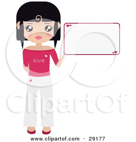 Clipart Illustration of a Black Haired Woman Dressed In White And Pink, Holding Up A Blank Sign With Hearts On It by Melisende Vector