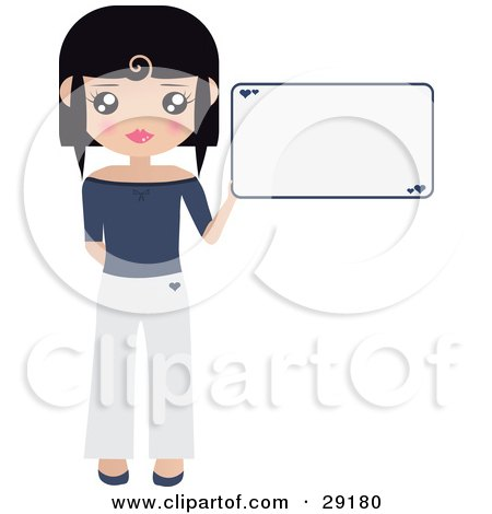 Clipart Illustration of a Black Haired Woman Dressed In White And Blue, Holding Up A Blank Sign With Small Hearts On It by Melisende Vector