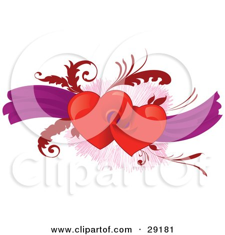 Clipart Illustration of a Pair Of Red Heats Connected To Each Other, Over A Background Of Purple Ribbons And Red Leaves by Paulo Resende