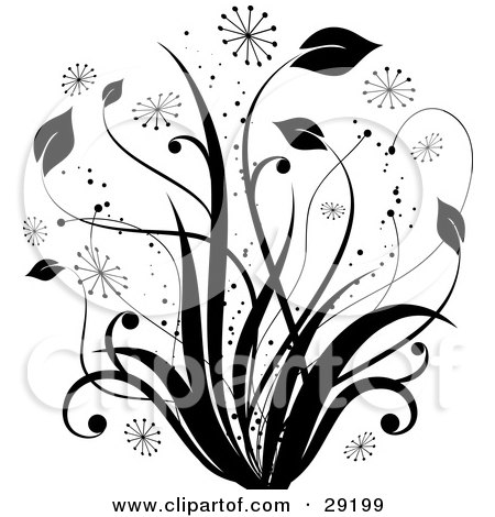 Clipart Illustration Of Black Tall Grasses With Bursts And Sparkles On A White Background