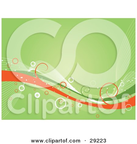 Clipart Illustration of Green, White And Orange Waves With Curls And Circles, Over A Green Background by KJ Pargeter
