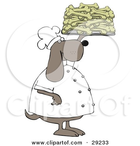 Clipart Illustration of a Pleased Dog Chef In A Uniform, Holding Up A Tray Of Doggy Biscuits In A Bakery by Dennis Cox