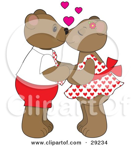 Clipart Illustration of a Teddy Bear Couple Holding Hands And Kissing, With Pink Hearts Above Their Heads by Maria Bell