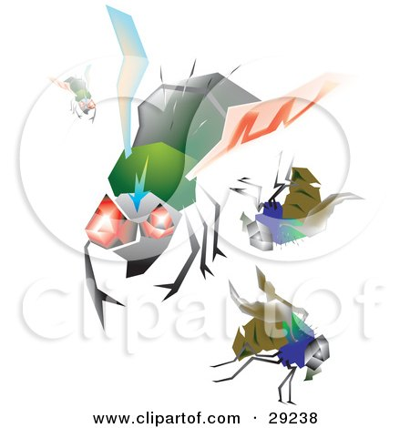 Clipart Illustration of a Set Of Hairy Green And Blue House Flies With Big Eyes, Flying by erikalchan