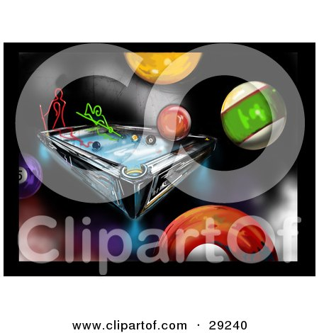Clipart Illustration of Red And Green Neon People Playing A Game Of Billiards On A Colorful Background With Pool Balls by erikalchan