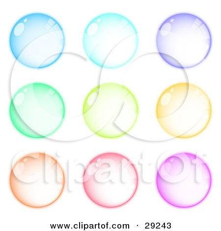 Clipart Illustration of a Set Of Nine Blue, Purple, Green, Orange, Pink And Purple Orbs by beboy
