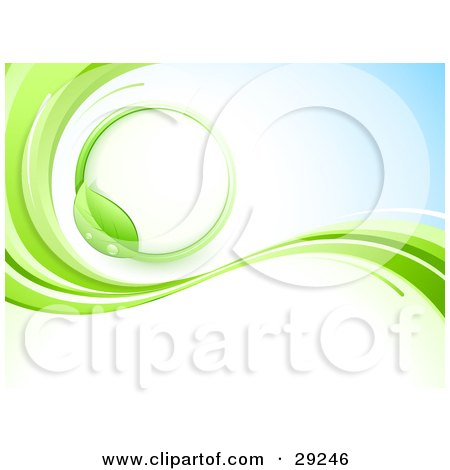 Clipart Illustration of a Green Vine Circle On A White And Blue Background With Waves Of Green by beboy