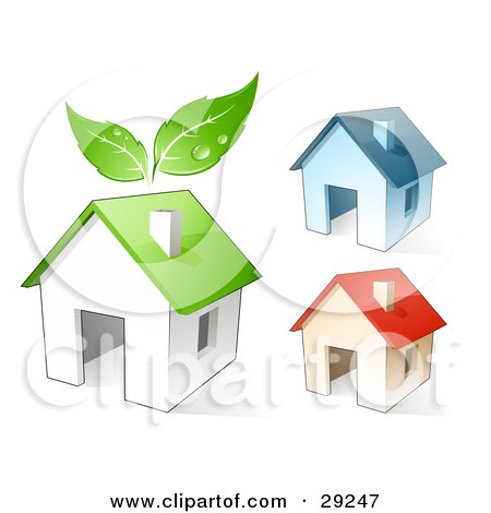 Clipart Illustration of a Set Of Three Blue, Red And Green Homes, The Green With Leaves Above It by beboy