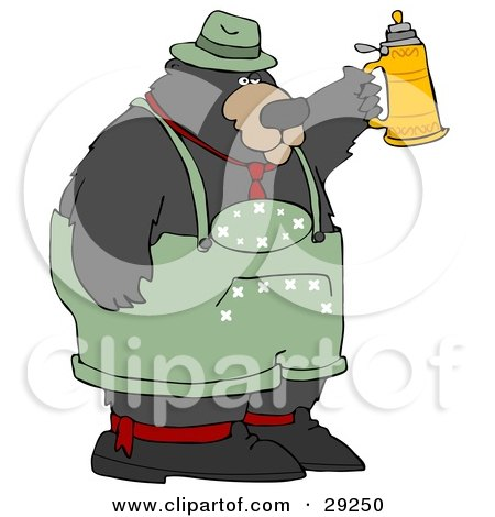 Clipart Illustration of a Big Oktoberfest Bear In Green, Holding Up A Beer Stein by djart