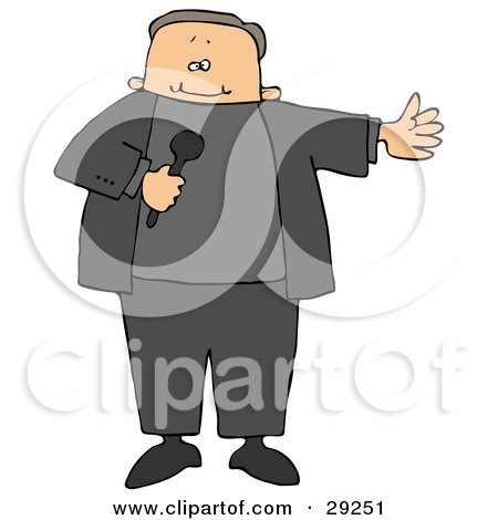 Clipart Illustration of a Male MC Or Tv Show Host Holding A Microphone And Introducing A Guest by djart