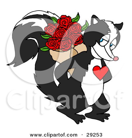 Sweet Skunk With A Red Heart On His Chest, Smiling And Holding A Bouquet Of Red Roses Behind His Back Posters, Art Prints