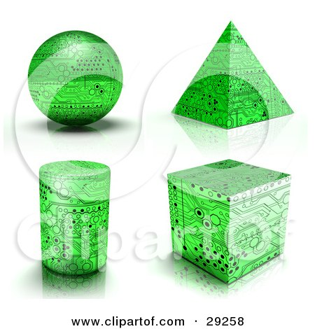 Clipart Illustration of a Set Of Green Circuit Board Sphere, Pyramid, Cylinder And Cube  Shapes by Tonis Pan