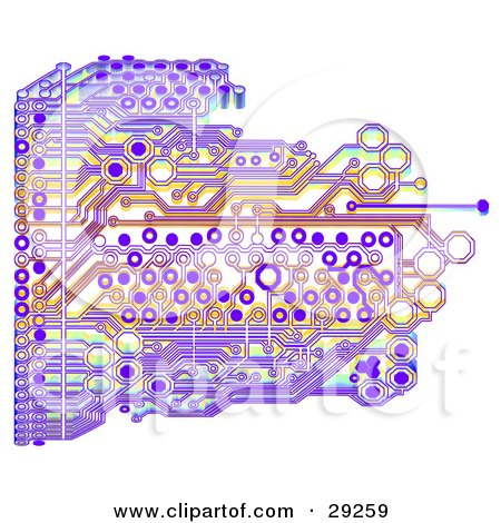 Clipart Illustration of a Purple And Orange Circuit Board On A White Background by Tonis Pan