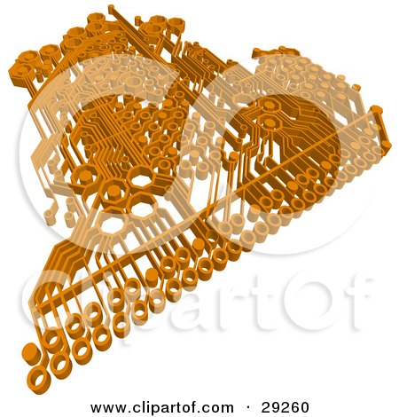 Clipart Illustration of an Orange Circuit Board Over A White Background by Tonis Pan
