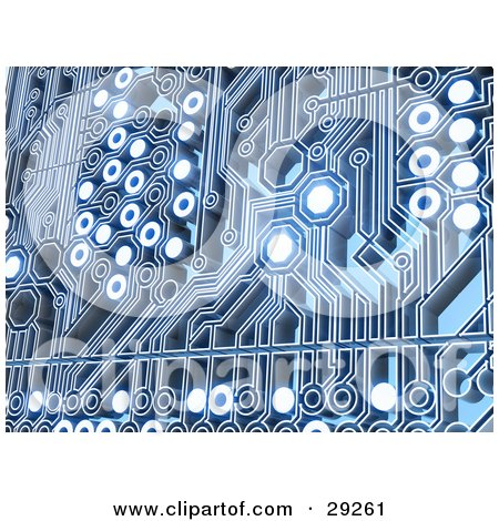 Clipart Illustration of Glowing Spaces Of A Blue Circuit Background by Tonis Pan