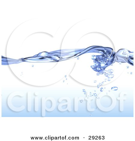 Clipart Illustration of a Background Of Flowing Blue, Pure Water With Droplets Under The Surface by Tonis Pan