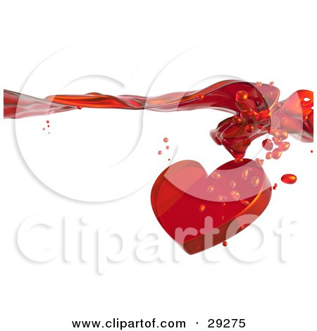 Clipart Illustration of a Red Heart With Droplets, Splashing Through A Surface Of Red Flowing Liquid, Love Potion by Tonis Pan