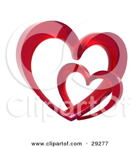 Clipart Illustration of Two Red Glass Hearts Linked Together, One Smaller Than The Other, Symbolizing Love And Trust by Tonis Pan