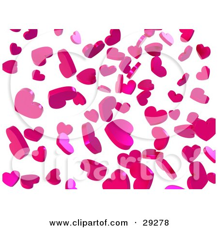 Clipart Illustration of a Background Of Falling Pink Confetti Hearts Over White by Tonis Pan