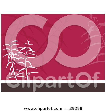 Clipart Illustration of White And Faded Plants On A Pink, White And Brown Oriental Background by KJ Pargeter