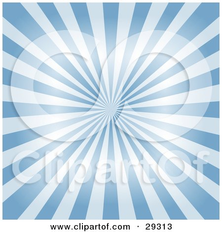 Clipart Illustration of a Shiny Background Of Light And Blue Rays Of Light Emerging From The Center by KJ Pargeter
