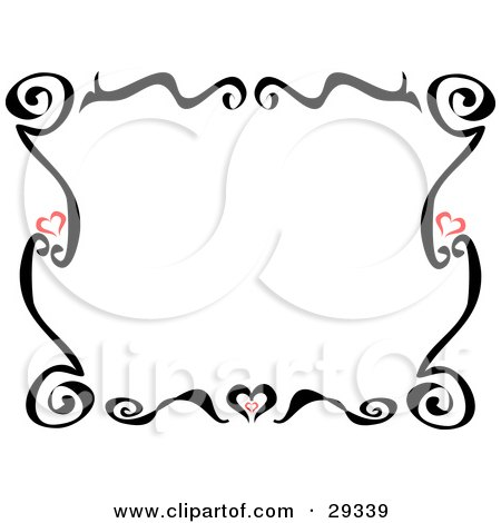 Royalty-free clipart picture of a black tattoo border with little red hearts