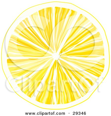 Clipart Illustration of a Slice Of Yellow Lemon With Juicy Pulp, Over A White Background by suzib_100