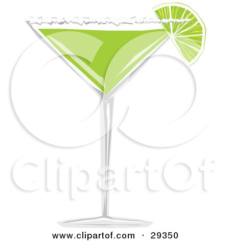 Clipart Illustration of a Wedge Of Lime With Salt On The Rim Of A Margarita Glass Filled With Green Alcohol by suzib_100