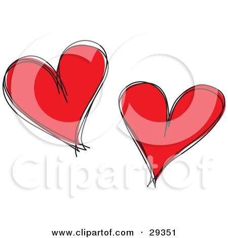 Clipart Illustration of Two Red Hearts With Black Sketched Outlines, On A White Background by suzib_100