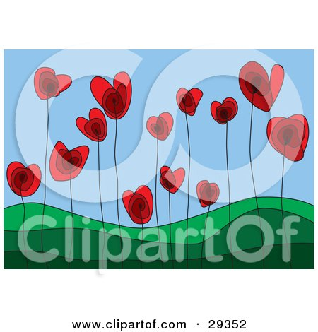 Red Heart Flowers Growing In A Green Hilly Landscape, Symbolizing A Growing Love  Posters, Art Prints