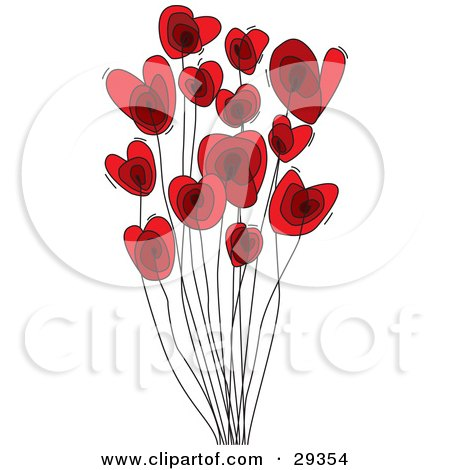 Clipart Illustration of Two Red Hearts With Black Sketched ...