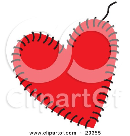 Clipart Illustration of a Red Heart Being Sewn Together With Black Thread by suzib_100
