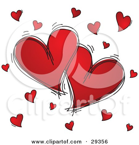 Two Large Red Hearts Outlined In Black Sketches, Surrounded By Little Hearts, On A White Background  Posters, Art Prints